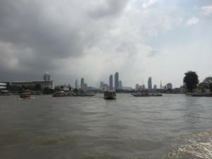 Bangkok skyline seen from water taxi, Thailand