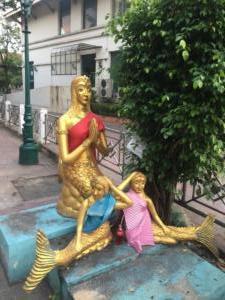 mermaid Buddha at river front, Bangkok, Thailand