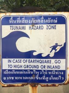 Tsunami hazard zone warning, Ao Nang, Krabi Province, Thailand