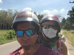 Dust protection on the motor scooter, Krabi Province, Thailand