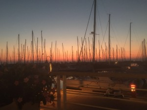 Yacht harbour at sunset